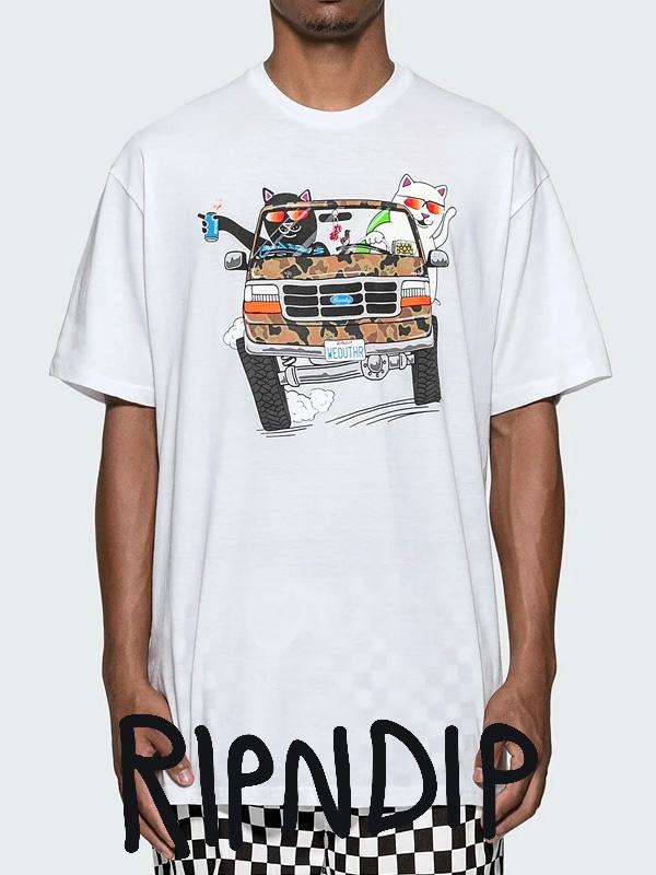 【ゆうメール便送料無料】RIPNDIP リップンディップ Tシャツ メンズ レディース ユニセックス 半袖 ブランド おしゃれ 大きいサイズ 綿100% 猫 ネコ グッズ The Whole Gang ドライブ エイリアン Rip N Dip リッピンディップ RND3561