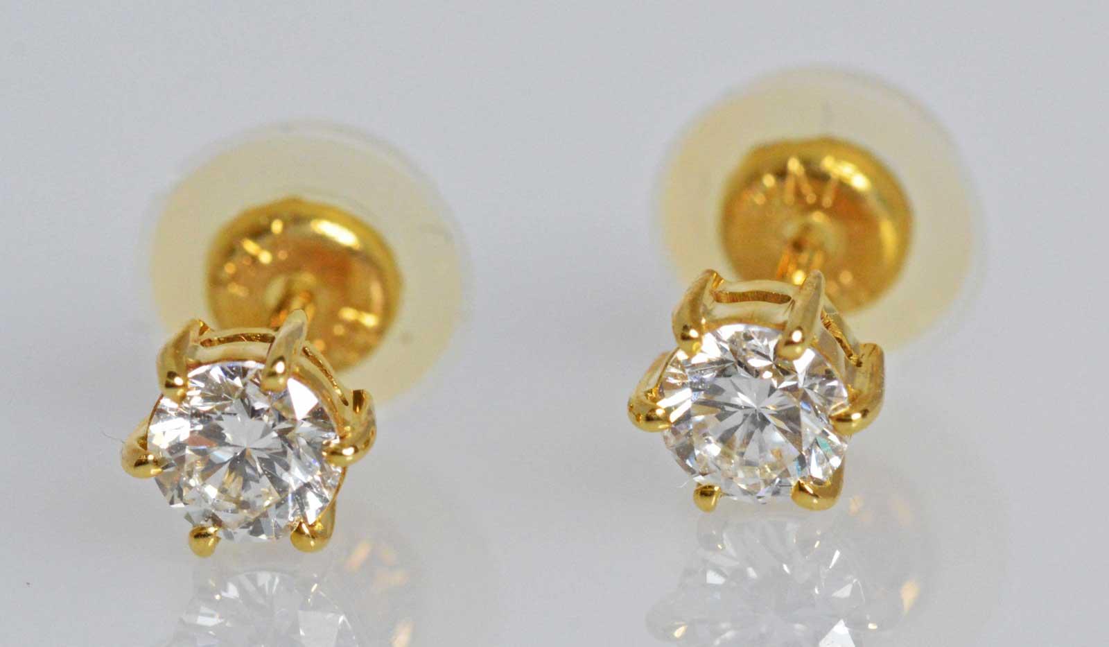 (1291) 【ジュエリー(ノンブランド)】 K18 ダイヤ ピアス 0.20ct 0.19ct 一粒ダイヤ [ノンブランドジュエリー] 【中古】