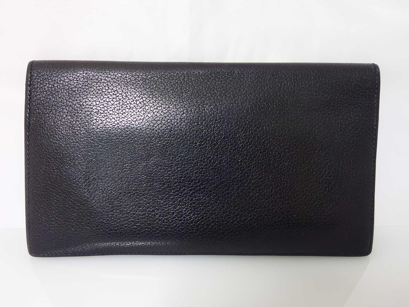 (1323) 【エルメス】 エルメス HERMES 二つ折り長札入れ ブラック メンズ [財布] 【中古】