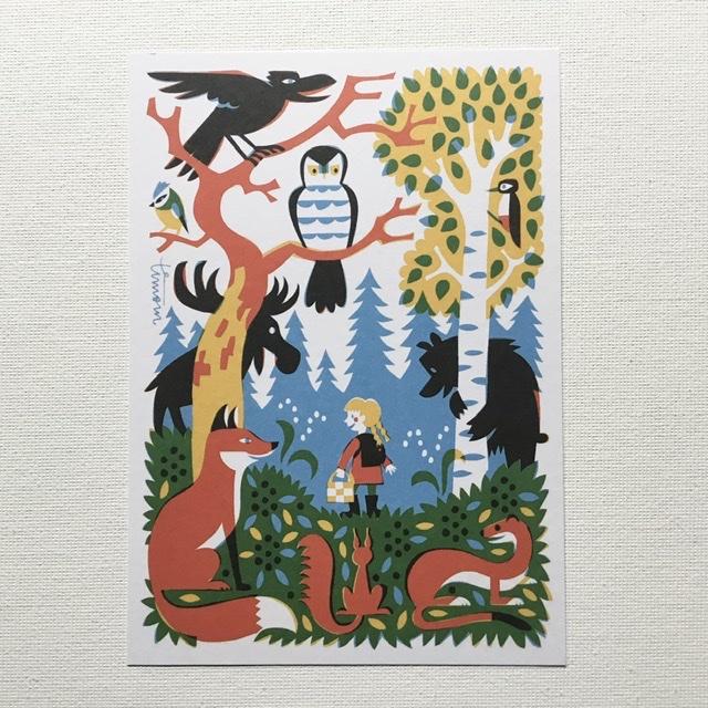 フィンランド Kehvola Design Timo M#228;ntt#228;ri ティモ 北欧 女の子 マンッタリ ポストカード フォレスト 40%OFFの激安セール 通信販売