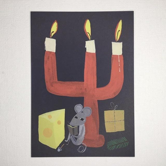 フィンランド Kehvola Design Matti pikkujamsa マッティ ピックヤムサ サイレントナイト ネズミ ポストカード 爆安プライス 北欧 希望者のみラッピング無料 クリスマス Juhlayo キャンドル