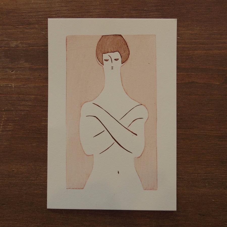 アケモドロ 型染め裸婦 ポストカード ピンク 葉書 商舗 店内全品対象