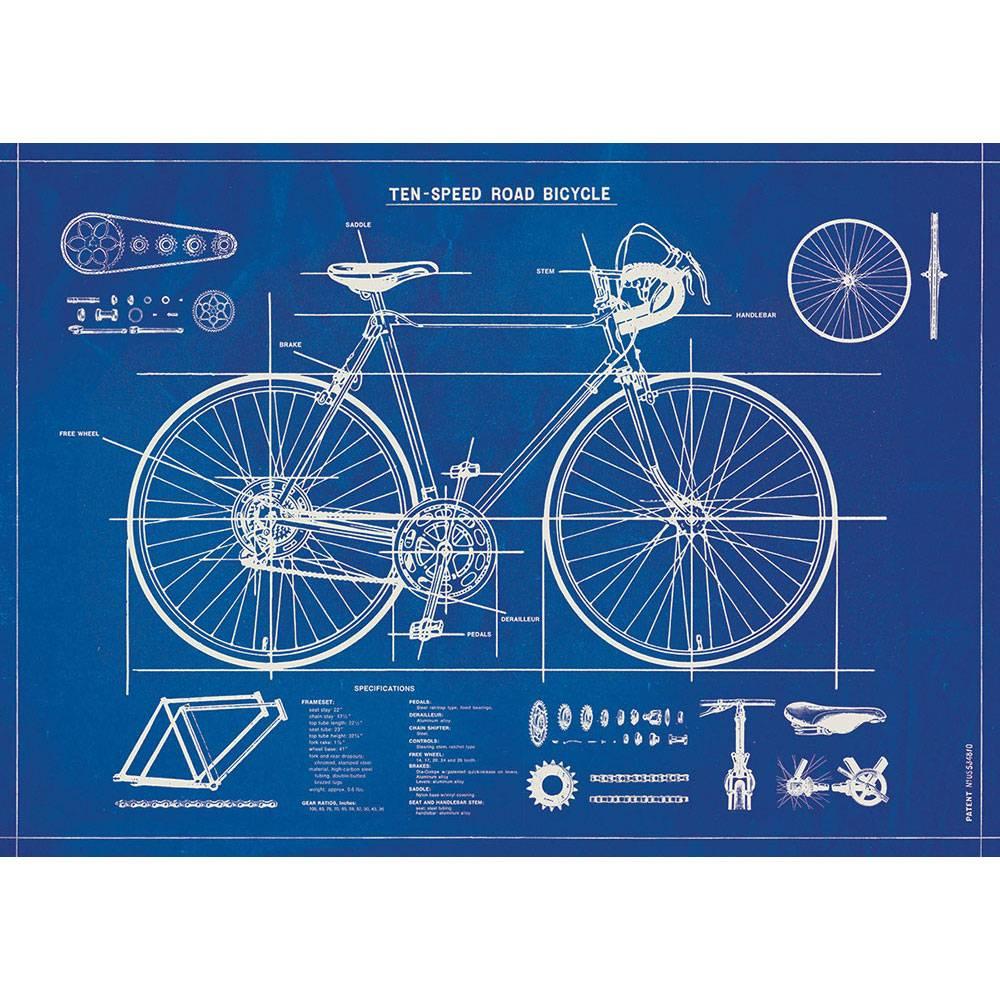 アメリカ CAVALLINI 店内限界値引き中 税込 セルフラッピング無料 カヴァリーニ ラッピングペーパー ポスター Blueprint 自転車 Bicycle 青