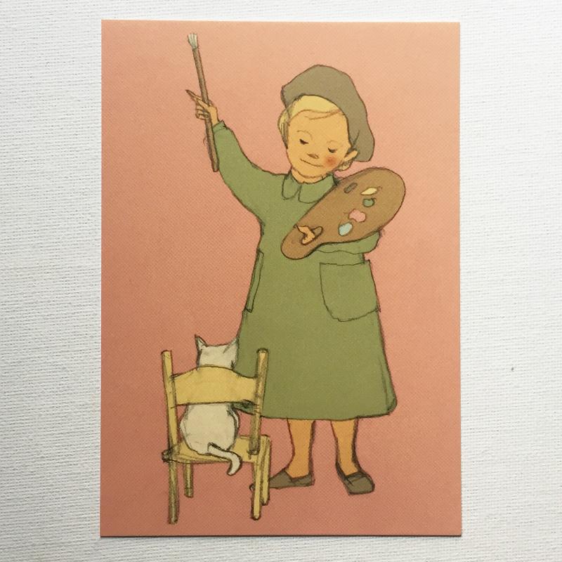 Susumu Fujimoto 藤本 将 Aiken Drum 女の子 絵描き エイキンドラム ネコ 大注目 ポストカード パレット 格安店