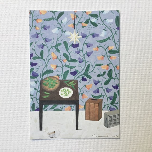 Yoko Matsumoto マツモトヨーコ 公式ストア ポストカード 春の宵 テーブル 卓抜 ウッドボックス えんどう グリーンピース スイートピー