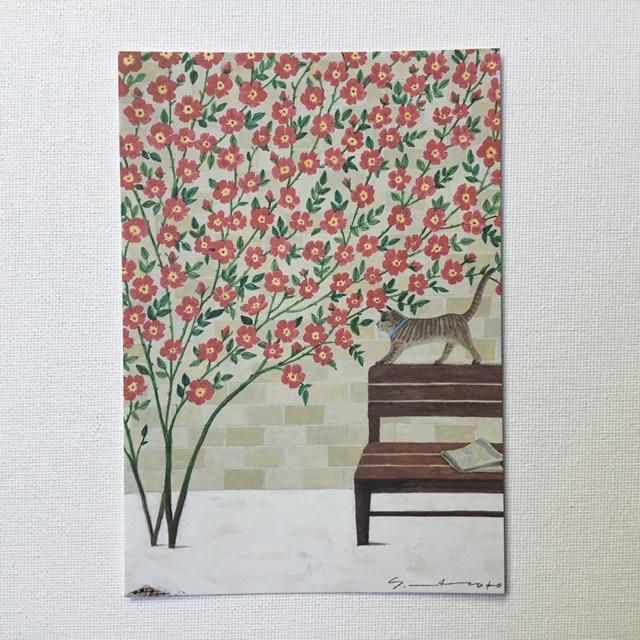 Yoko Matsumoto マツモトヨーコ [ギフト/プレゼント/ご褒美] ポストカード ネコ ベンチ 赤い花 新聞 日本メーカー新品