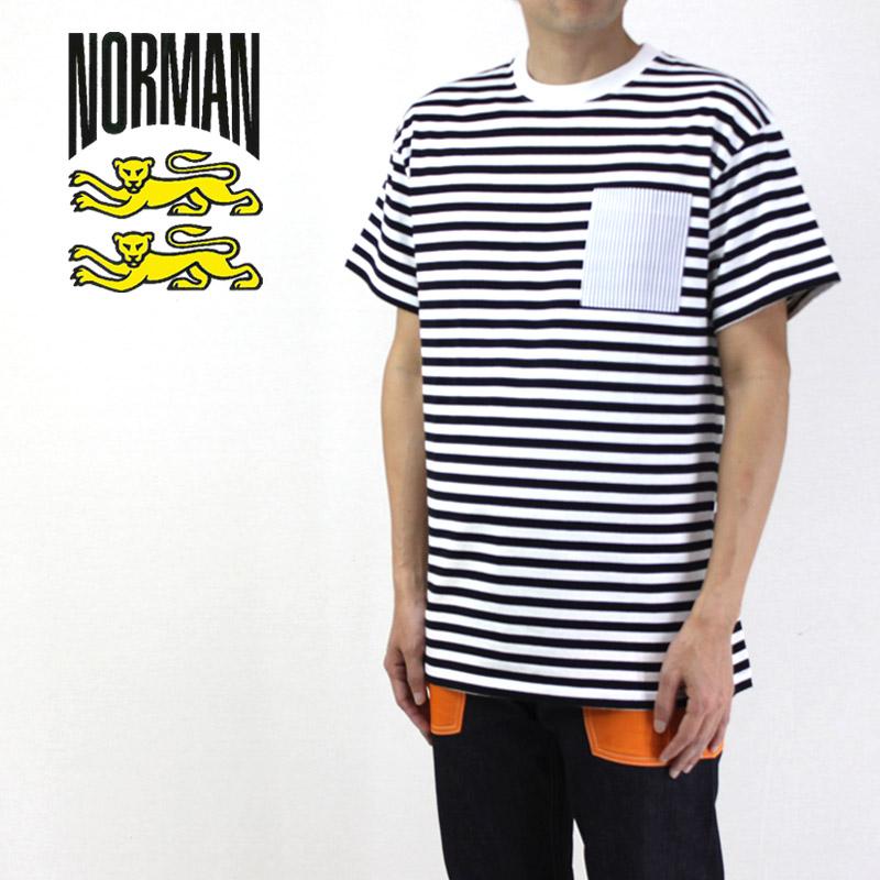 NORMAN ノルマン 半袖 Tシャツ STRIPE POCKET BORDER TEE SHIRTS NOR-0016 【ロゴ フレンチトラッド ストライプ ポケット メンズ 】10P03Dec16