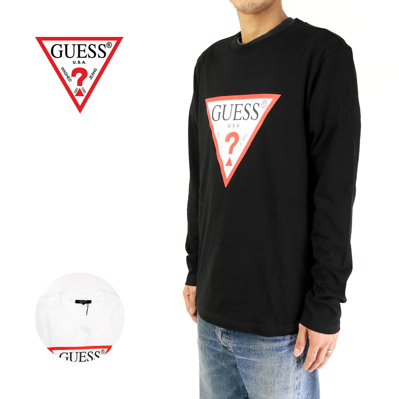 GUESS ゲス 長袖 Tシャツ TRIANGLE LOGO ROUND-NECK L/S TEE MJ3K9450K 【正規取り扱い代理店】【ロゴ 正規品 ロンT】10P03Dec16