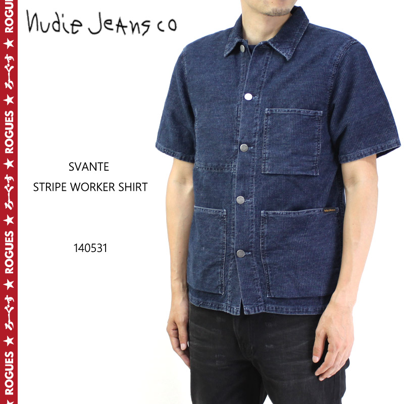 nudie jeans ヌーディージーンズ 半袖シャツ SVANTE STRIPE WORKER SHIRT 140531 10P03Dec16
