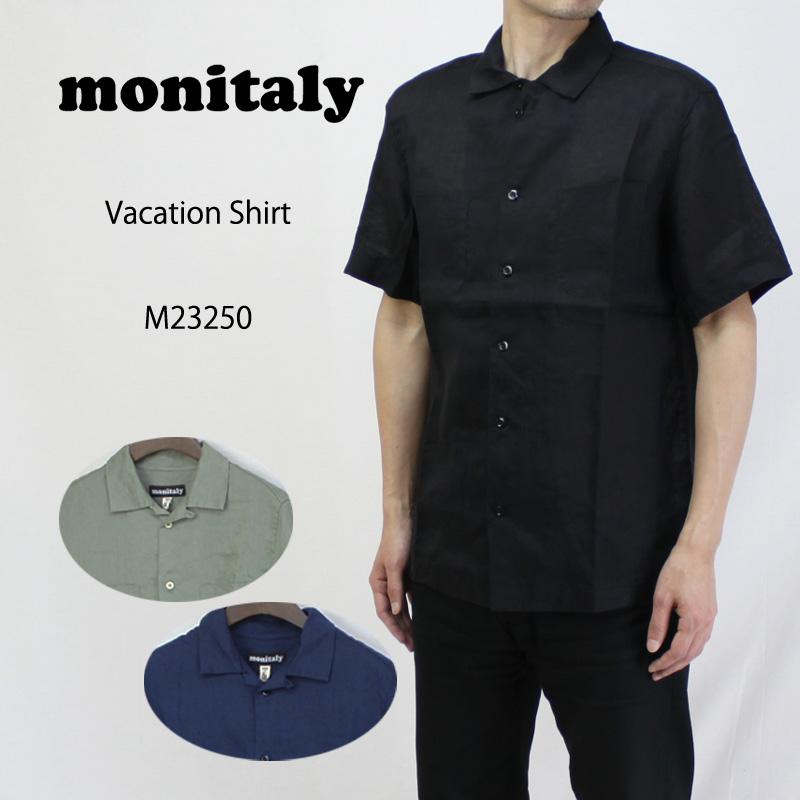 MONITALY モニタリー 半袖 シャツ VACATION SHIRT M23250 【メンズ バケーション ブラック ネイビー セージ】10P03Dec16