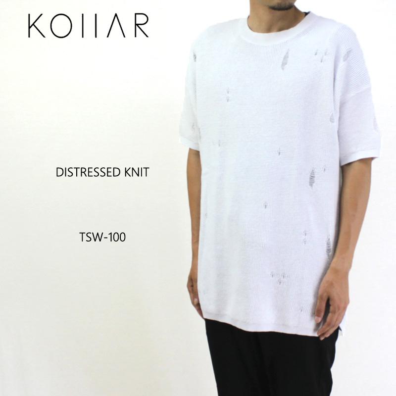 KOLLAR CLOTHING カラークロージング 半袖 Tシャツ DISTRESSED KNIT TSW-100 【カナダ トロント オーバーサイズ ニット ホワイト 】10P03Dec16