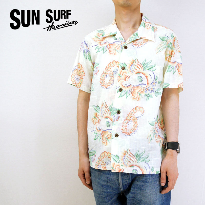 SUN SURF サンサーフ 半袖 アロハシャツ COTTON LINEN SLUBYARN OPEN SHIRT