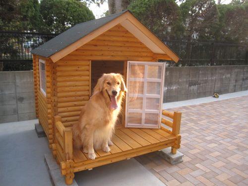 ゴールデンレトリバー ラブラドールレトリバー 小型犬 1400型 デラックス 犬舎 ログペットハウス 屋外 柴犬 大型犬 犬小屋 中型犬