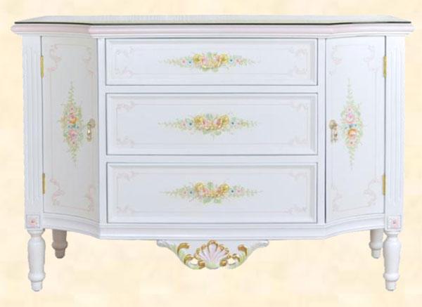 キャビネット サイドボード チェスト 北欧 アンティーク調 壁面家具 クラシック ホワイト 幅120cm MDF 花柄 送料無料