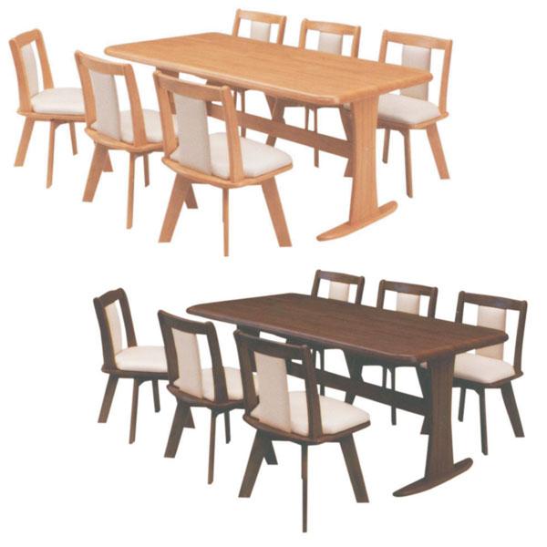 ダイニングテーブルセット ダイニングセット 6人掛け ダイニング 7点セット 6人用 木製 幅180cm モダン 食卓セット 食卓テーブル 回転チェア 回転椅子
