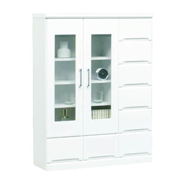 キャビネット 本棚 完成品 サイドボード 幅90 鏡面