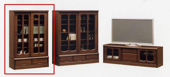 本棚 書棚 飾り棚 木製 引き戸 サイドボード キャビネット トラッド 幅90cmミドルボード 和風モダン 日本製