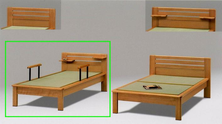 畳ベッド シングルベッド 木製 仁ヘッドシェルフ、手摺り付き 畳ベッド ナチュラル