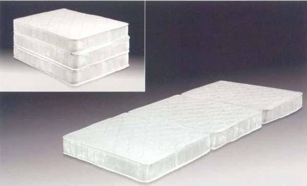 ベッド シングルベッド Dー600E ボンネル三ツ折マット シングル ホワイト