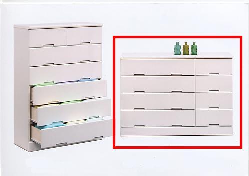 チェスト タンス ローチェスト 120 鏡面 姫系 スライドレール 4段 ホワイト ピンク ブルー 日本製 完成品 木製 ライズ120-4 北欧 ベーシック ミッドセンチュリー シンプル モダン 大川家具 送料無料