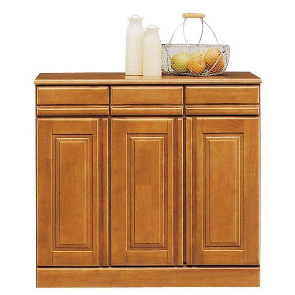 キッチンカウンター レンジ台 完成品 幅90cm キッチン収納 木製 ラバーウッド無垢 引き出し付き レンジボード キッチンボード 日本製 キャスター付き