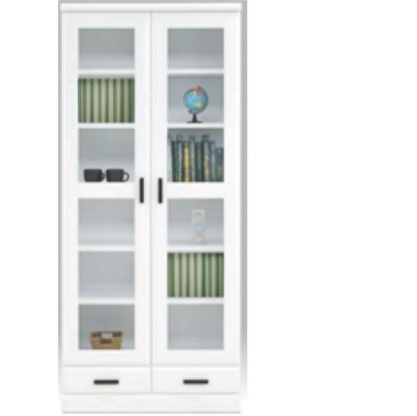 【 開梱設置無料 】本棚 書棚 キャビネット 飾り棚 ブックシェルフ 木製 幅80cm 鏡面 日本製 フリーボード ホワイト 大川家具 送料無料