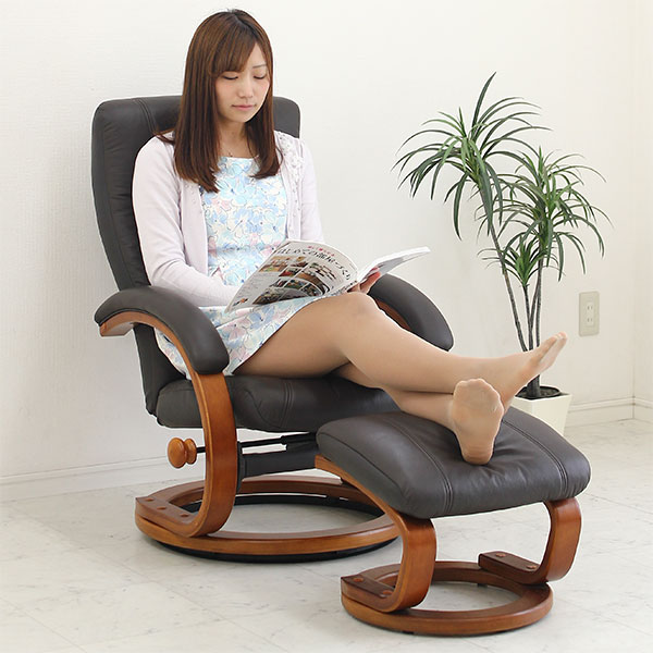 リクライニングチェア パーソナルチェア オットマン付 本革 セミアリニン ダークブラウン 肘付き 回転 椅子 革製 北欧 モダン 送料無料