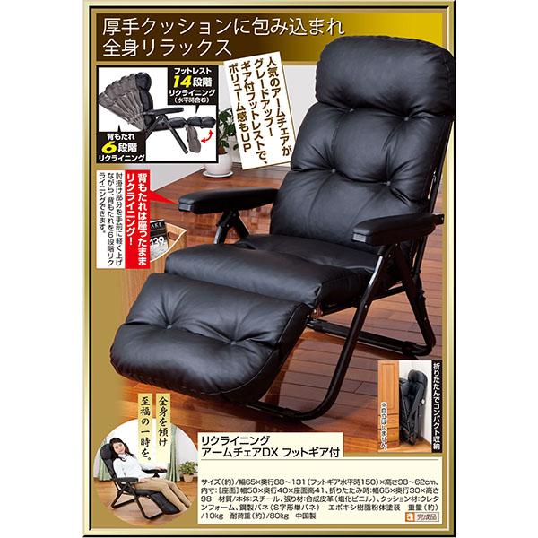 リクライニングアームチェアDX フットギア付 【送料無料】