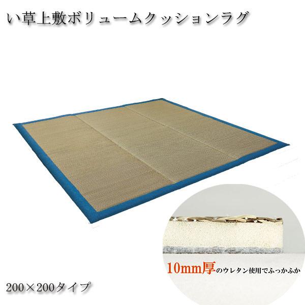 い草 上敷 ボリューム満点 クッション ラグ 200×200 【送料無料】