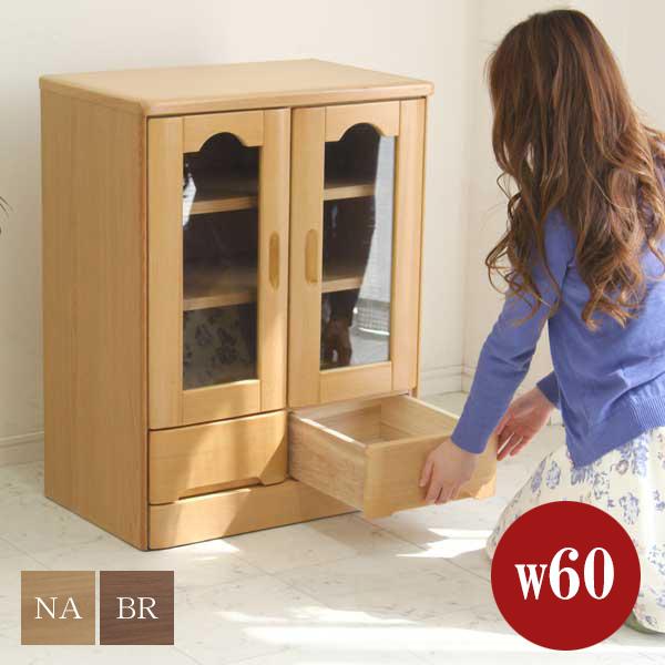 キャビネット サイドボード 幅60cm 完成品 リビング収納 北欧 シンプル モダン ガラス扉 引き出し 壁面家具 リビングボード 鍵付き 木製
