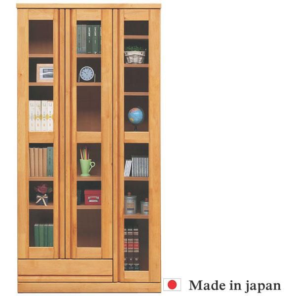 本棚 書棚 完成品 幅90cm キャビネット 飾り棚 ブックシェルフ 木製 フリーボード リビング収納 ガラス扉 アルダー無垢 開梱設置無料