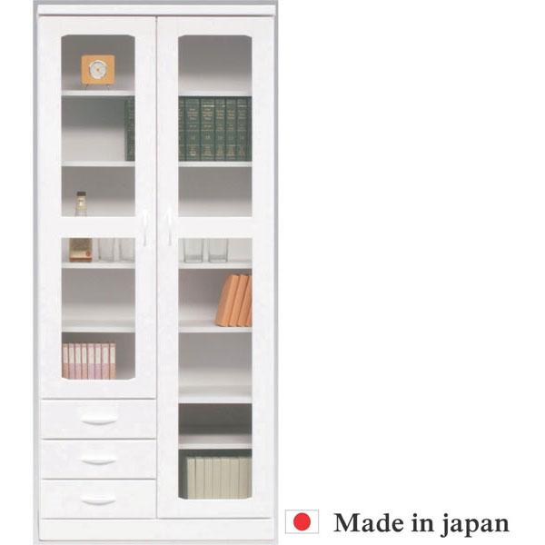 【 開梱設置無料 】本棚 書棚 キャビネット 飾り棚 ブックシェルフ 木製 幅80cm フリーボード ホワイト 送料無料