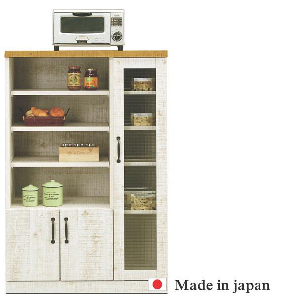レンジ台 レンジボード 幅80cm キッチン収納 食器棚 完成品 日本製 ガラス扉 おしゃれ 木製 レトロ ミドルタイプ