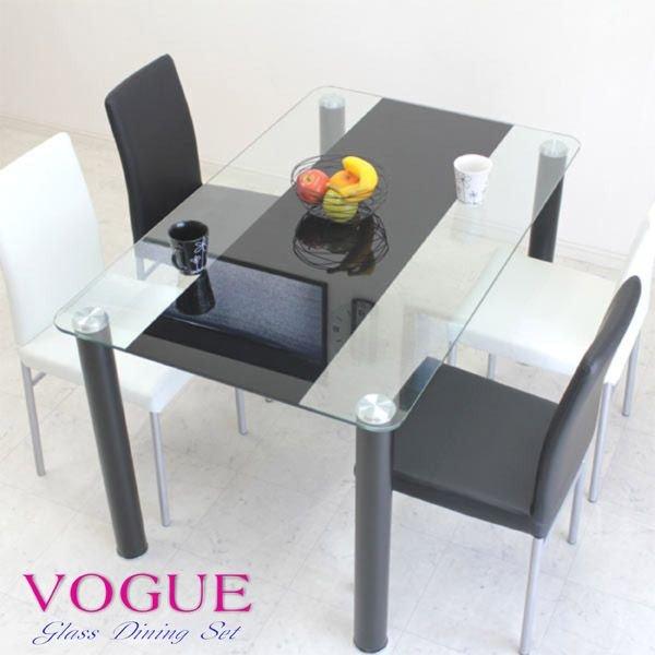 ダイニングテーブルセット ガラスダイニングセット 5点セット ダイニング5点セット 4人掛け 4人用 幅130cm シンプル モダン 食卓セット ホワイト ブラック