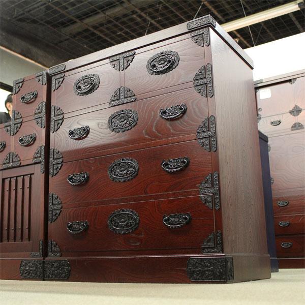 和箪笥 民芸家具 幅75cm 4段 完成品 和風家具 和タンス 民芸調 家具 木製 吉野民芸 整理75