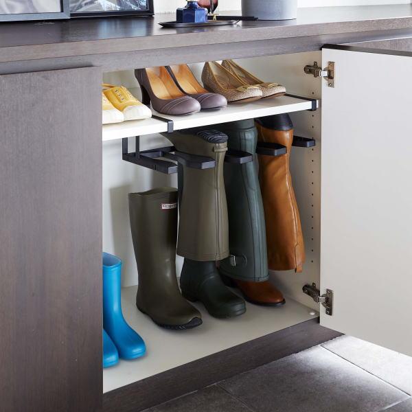 収納に困る長靴やブーツをコンパクトに収納できるホルダー シューズラック お気に入 組立式 下駄箱中長靴 BK フレーム 《週末限定タイムセール》 ブーツホルダー