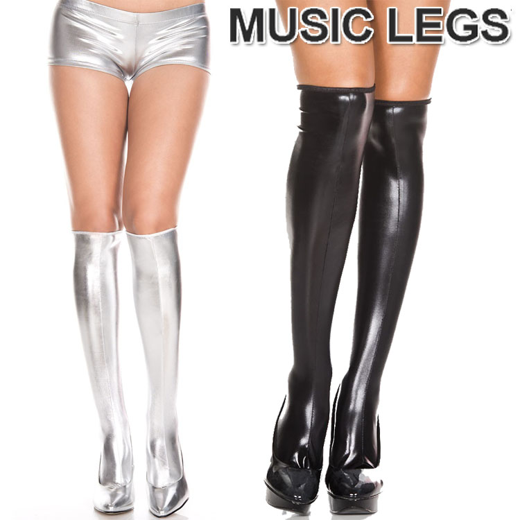 Music legs black Wet look pantyhose