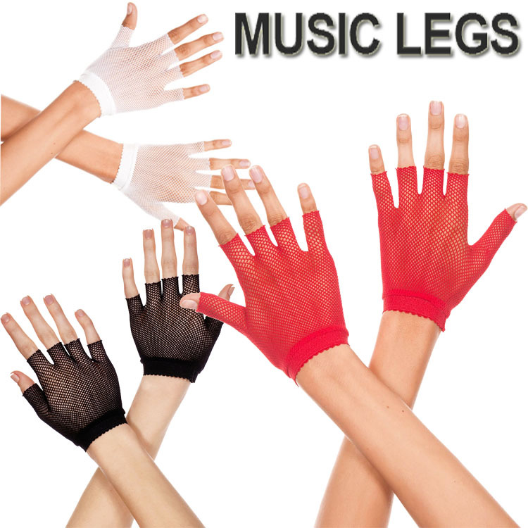 MusicLegs ミュージックレッグ フィンガーレスフィッシュネット ショートグローブ 401 ブラック ホワイト レッド 黒 白 赤手袋 パンクロック 仮装 ダンス衣装 ML401 レディース メール便2点まで270円 百貨店 大きいサイズ 安い コスプレ ライブ バーレスクダンサー A655-A657