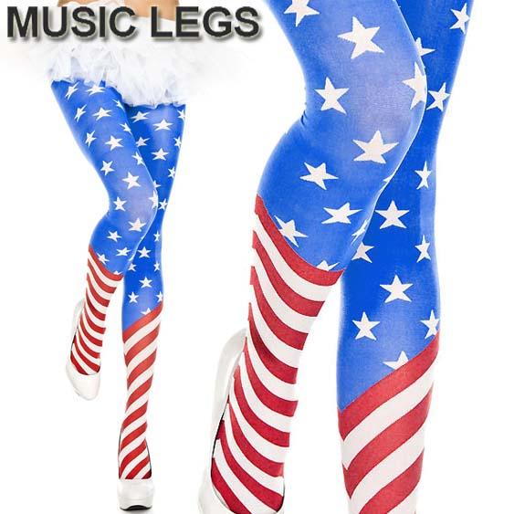 New Music Legs 7069 American Flag Spandex Tights