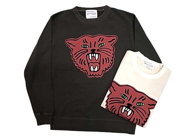 ★SALE 20%OFF★ Cloveru クローバル RED TIGER SWEAT レッド タイガー クルースウェット 2色(ROCK BLACK/NATURAL IVORY)