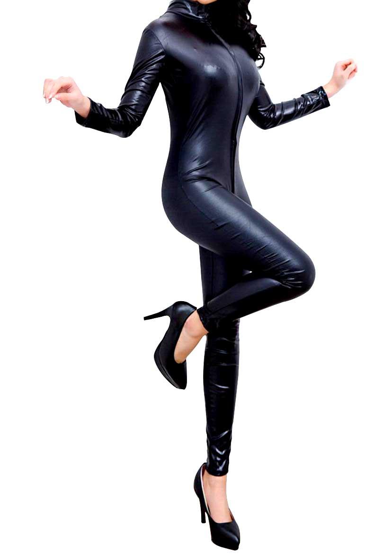 全身スーツ ジャンプスーツ 未使用品 セクシー系 フェイクレザー キャットスーツ ダブルファスナー 超大きい ボディスーツ ブラック XXLサイズ 入手困難 送料無料 mak-b69 コスプレ