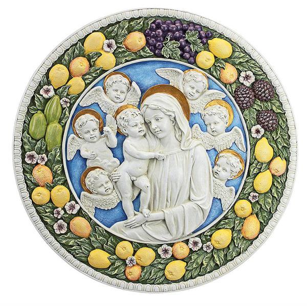 アンドレア・デッラ・ロッビア作 聖母マリアと幼子イエス レリーフ 壁彫刻 彫像/ Virgin Mary and Child Roundel Wall Sculpture(輸入品)