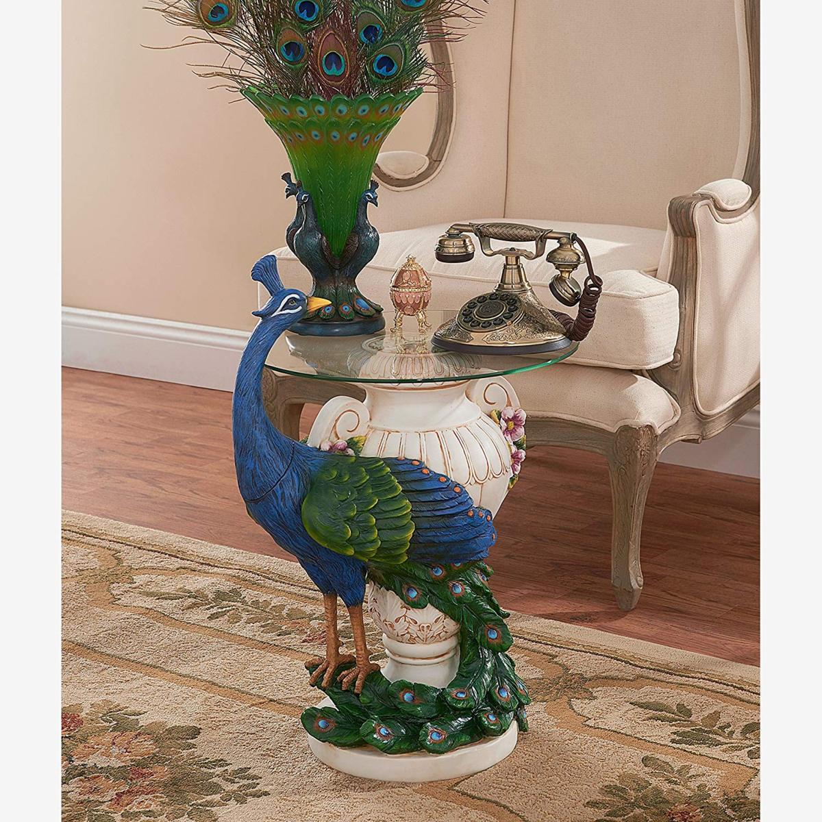 デザイン・トスカノ製 ステイバーデン城 ピーコック(孔雀)ガラストップ サイドテーブル高さ約63cm フルカラー 彫像 彫刻(輸入品)