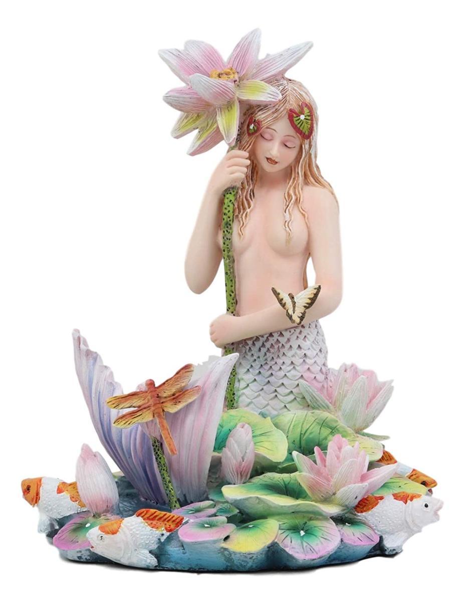 虹色の池のほとりで、花の傘を持って、トンボや鯉と戯れる、マーメイド(人魚)彫像 海のセイレーン(妖精)彫刻置物(輸入品)