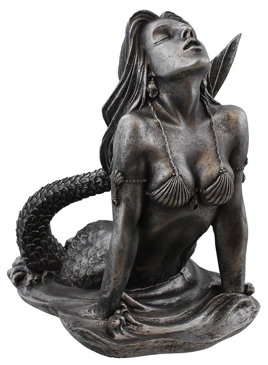 海から顔を出している人魚(マーメイド)-アンティークシルバー仕上げ アート彫刻 彫像(輸入品)