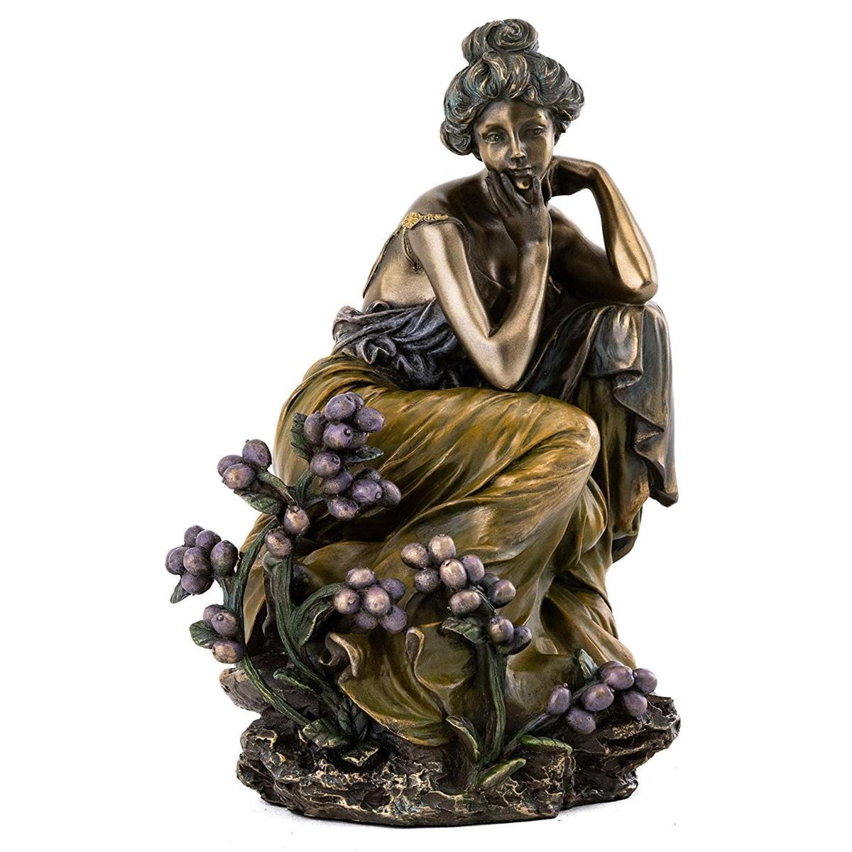 トップコレクション製 フランス アールヌーボー 「考える、美しい女性」彫刻 彫像 アルフォンス・ミュシャ作(輸入品)
