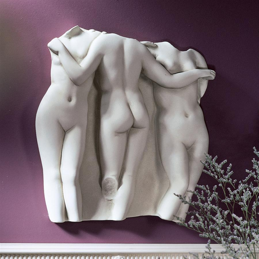 三人の女神(三美神)彫刻 裸婦古代彫刻 レリーフ 彫像 / Three Graces Wall Fragment: Original Size 15(輸入品)
