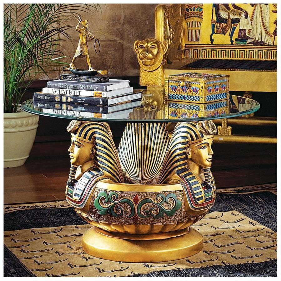 デザイン・トスカノ製 ツタンカーメンの3つの頭部、台座彫刻を持つ、ガラステーブル置物、彫像(輸入品)