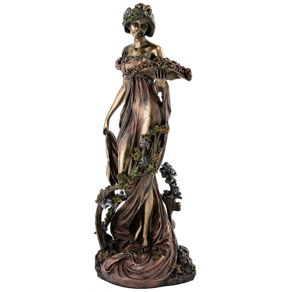 トップコレクション製 フランス アールヌーボー 「ヴァネリー(葡萄の園)」彫刻 彫像 アルフォンス・ミュシャ作(輸入品)