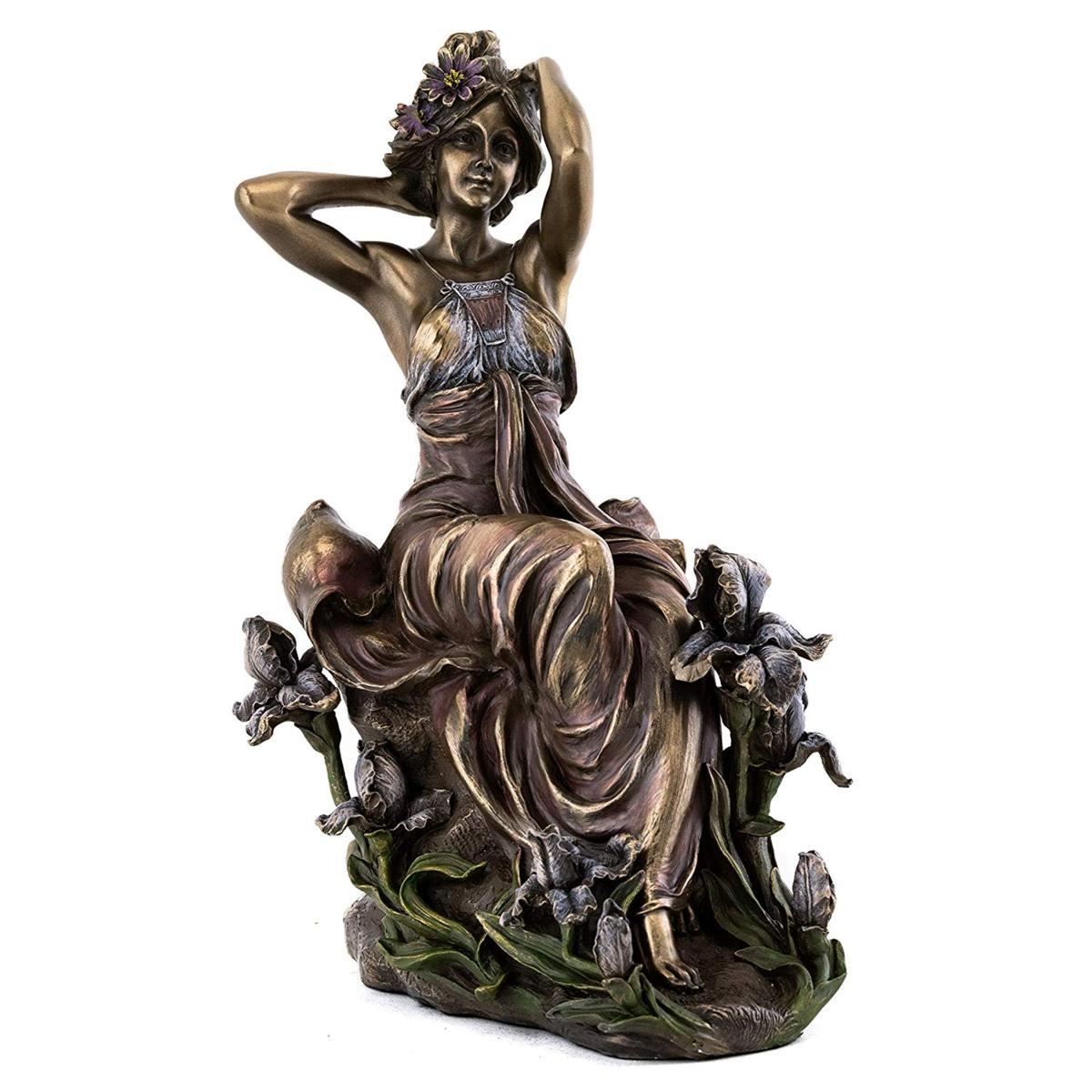 フランス アールヌーボー 夢見る乙女の像-ブロンズ風 美しい花の女性 彫刻-アルフォンス・ミュシャ作 彫像(輸入品)